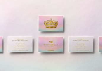 Six Luxury Business Cards with Gold Embossing Mockup 2