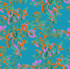 Indian floral seamless background pattern with fantasy flowers . Vector illustration hand drawn.