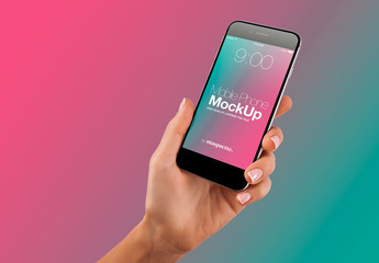 Hand with Cellphone on Gradient Background Mockup 52