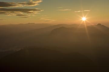 Landscape. Sunrise on the mountain Adam's Peak. Sri Lanka.