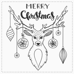 Black and white Christmas greeting card with deer and lettering.