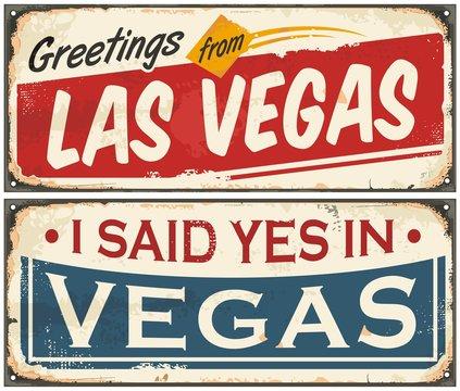 Las Vegas retro tin sign design set on old rusty background
