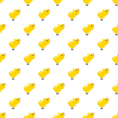 Seamless pattern with yellow chickens. Baby background. Rooster