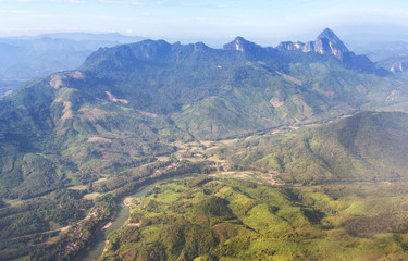 Aerial view of the earth above Laos territory and Mekong river