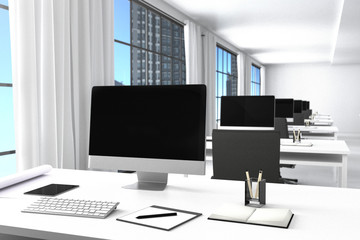 3D Rendering : illustration of modern interior white office of Creative designer desktop with PC computer.computer labs.working place of graphic design,city view.close-up.Mock up