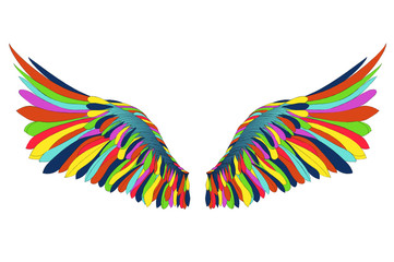 Wings. Vector illustration on white background. Colorful rainbow
