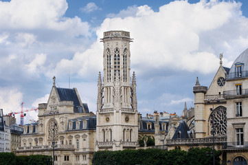 View of the Church of Saint Germain l'Oserua (Church of St. Herman (Germain) Auxerre). It is located in the first arrondissement of Paris.