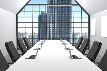3D Rendering : illustration of Modern conference room with office chair furniture.big windows and city view.office mock up.laptops on white table
