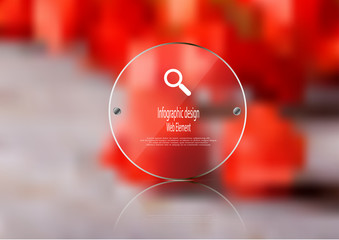 Illustration infographic template with glass circle on blurred photo background
