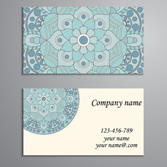 Business Card. Vintage decorative elements. Ornamental floral bu