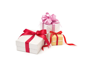 Box with gifts , christmas concept  and  red ribbon , pink ribbon isolated on white background.