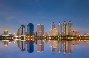Bangkok city downtown at night and have water reflection, Bangkok,Thailand