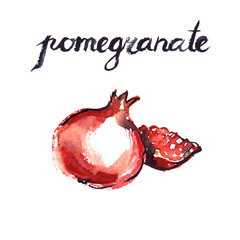 Watercolor painting and hand lettering of pomegranates on white isolated background