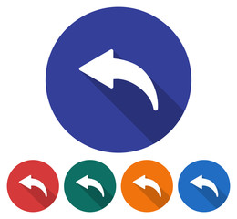 Round icon of left curved arrow. Flat style illustration with long shadow in five variants background color