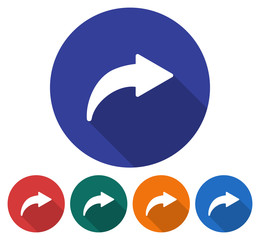 Round icon of right curved arrow. Flat style illustration with long shadow in five variants background color