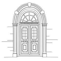 Retro door. Art Nouveau. Art Modern. Jugendstil.  A picture on white background. Hand drawing illustration.