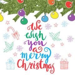 We wish you a merry Christmas - quote on patterned background