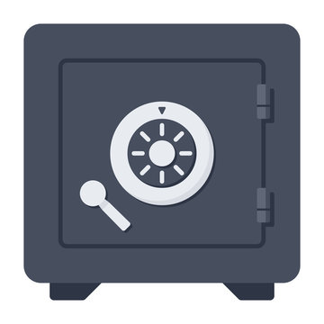 Bank safe vector icon in a flat style