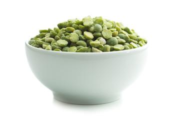 Green split peas in bowl.