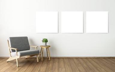 mock up blank poster on the wall, 3D living room interior design