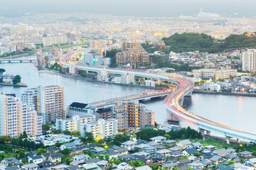 View of Fukuoka cityscape in Kyushu, Japan...
