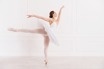 Graceful woman standing in ballet position