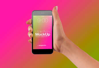 Hand with Cellphone on Gradient Background Mockup 63