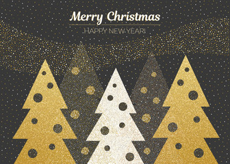 Vector merry Christmas and happy New Year design. Horizontal card with Christmas trees with christmas balls. Black gold and white colors.