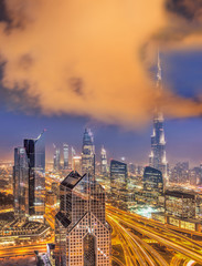 Night cityscape of Dubai with modern futuristic architecture , United Arab Emirates