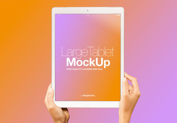 Hands with Tablet on Gradient Background Mockup 20