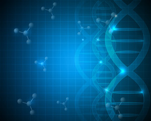 Abstract scientific DNA and molecule background design