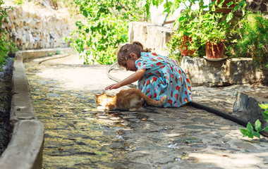 People and cat outdoors. Beautiful and happy little girl enjoyin