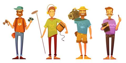 Artists Journalists Broadcasting Reporters Retro Cartoon