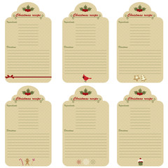 Six Christmas festive recipe cards