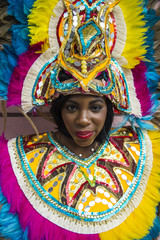 Woman posing for the carneval, Nassau, New Providence, Bahamas, Caribbean