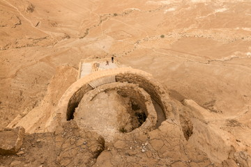 Herod the Great's hanging palace from above, Judaean desert beyond, Masada, UNESCO World Heritage Site, Israel, Middle East