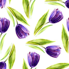 Watercolor purple tulip flower, seamless pattern, hand drawn botanical illustration isolated on white background, floral texture design for wedding invitation, cosmetic, greeting card, beauty salon