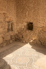 Mosaic floor, Byzantine Church, hill top palace complex, Masada fortress, UNESCO World Heritage Site, Israel, Middle East