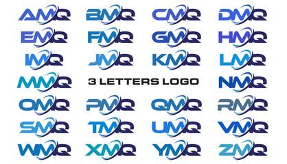 3 letters modern generic swoosh logo  AMQ, BMQ, CMQ, DMQ, EMQ, FMQ, GMQ, HMQ, IMQ, JMQ, KMQ, LMQ, MMQ, NMQ, OMQ, PMQ, QMQ, RMQ, SMQ, TMQ, UMQ, VMQ, WMQ, XMQ, YMQ, ZMQ