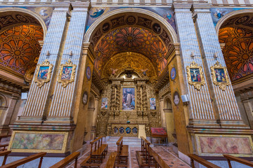 Interior of Santo Domingo Church in Quito, Ecuador
