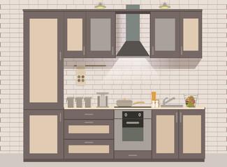 Vector kitchen interior card flat illustration