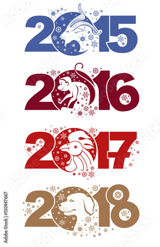 goat 2015 monkey 2016 rooster 2017 dog 2018 symbols of the years