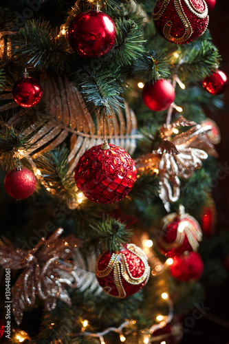 Red and yellow christmas tree decorations stock photo for Red and yellow christmas tree