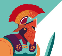Greek Spartan Warrior or Trojan Soldier holding shield and sword