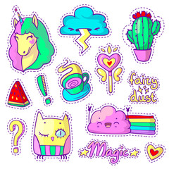 Cool stickers set in pop art comic style. Neon patch badges and pins with cartoon animals, food and things. Vector crazy doodles with unicorn, cactus, clouds etc.
