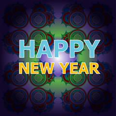 Beautiful text design of Happy New Year on abstract background.