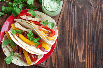 Chicken fajitas with vegetables