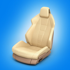 Car seat on blue gradient background 3d
