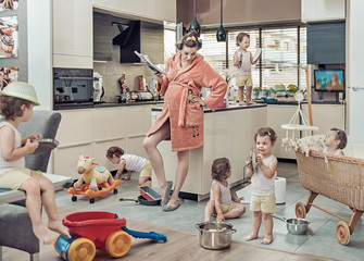 Printed kitchen splashbacks Artist KB Conceptual image of exhausted mom with her misbehaving child