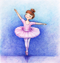hands drawn picture of little beautiful ballet dancer on the stage by the color pencils